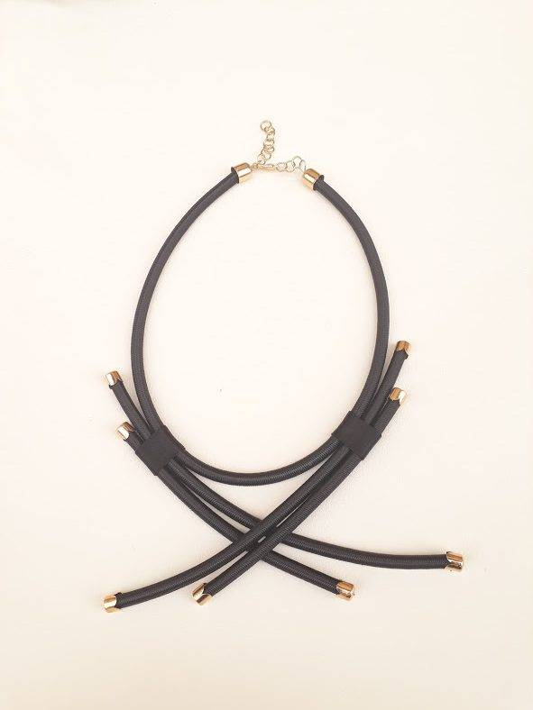 black rope neck piece black necklace with gold or silver findings