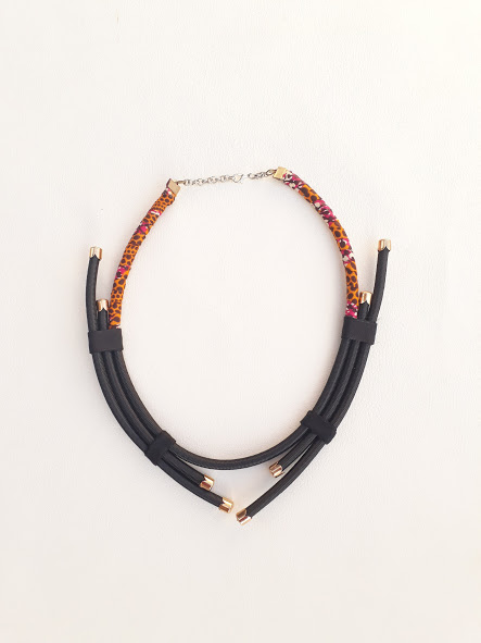 black and orange rope neck piece black necklace with gold or silver findings