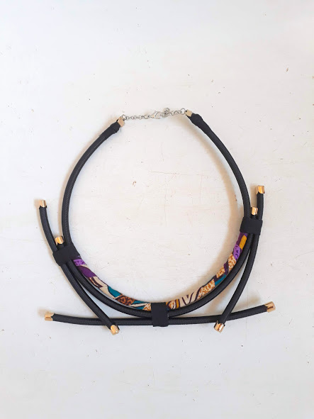 black and purple rope neck piece black necklace with gold or silver findings