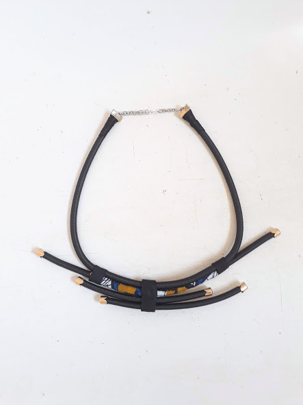 black and brown african rope neck piece black necklace with gold or silver findings