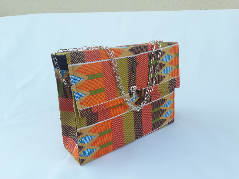 Orange kente bag