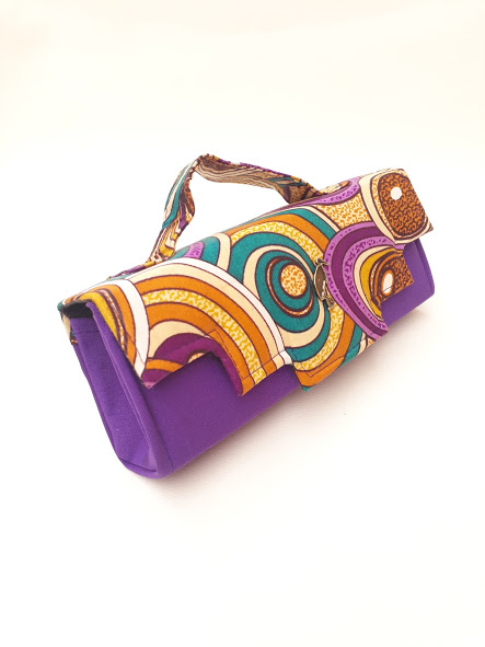 purple african print clutch bag. Timbuktu