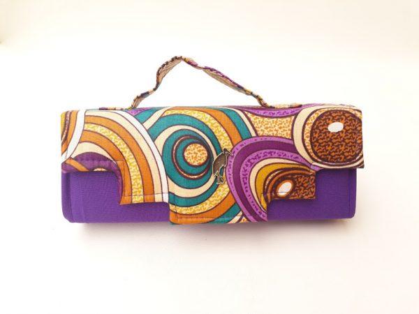 purple african print clutch bag. Timbuktu