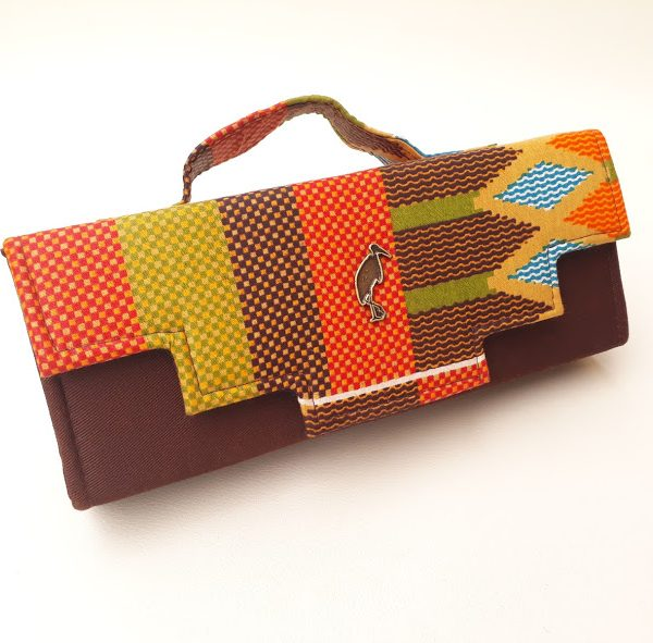 brown african print clutch bag. Timbuktu