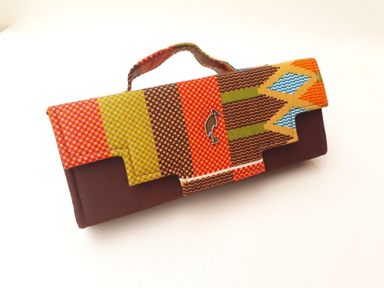 brown african print clutch bag. Timbuktu