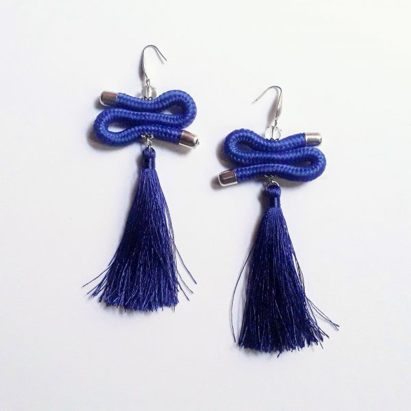 blue tassel earrings, blue african earrings, blue rope earrings