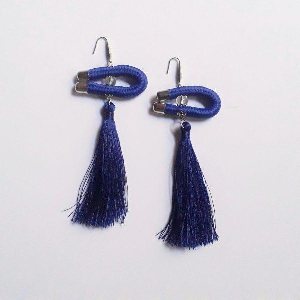 blue tassel earrings, blue african earrings