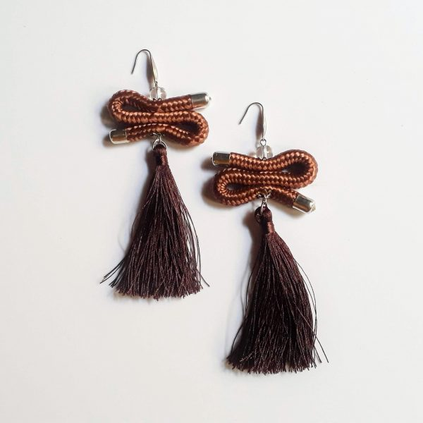 brown tassel earrings, brown african earrings, brown rope earrings