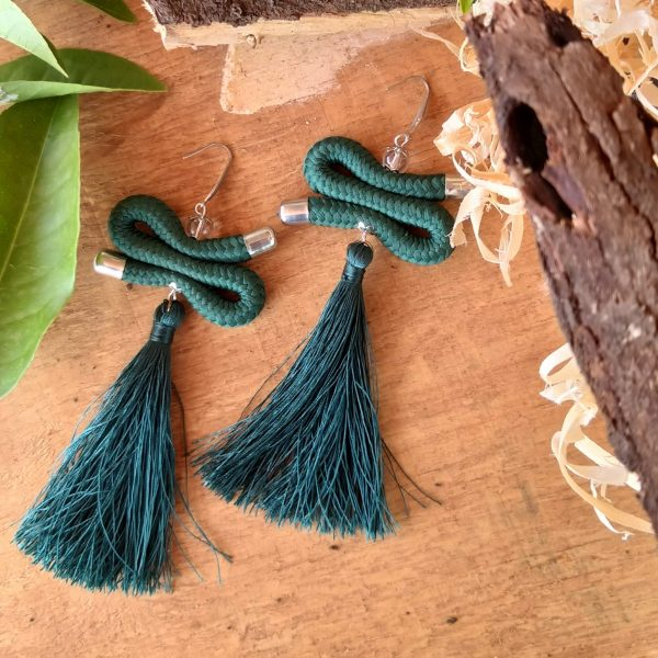 green tassel earrings, green african earrings, green rope earrings
