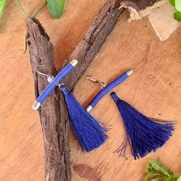 blue tassel earrings, blue rope earrings, blue african earrings